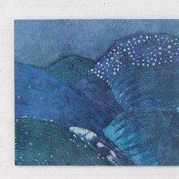 batik landschap blauw